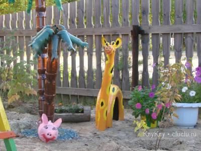 Art Activities for Kids. Giraffe - Handmade Craft out of Tire-covers